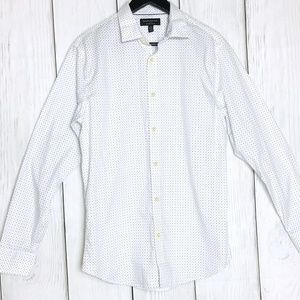 Banana Republic Mens White & Blue Print Button Up